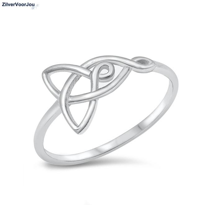 Zilveren love knot ring moeder dochter rhodium