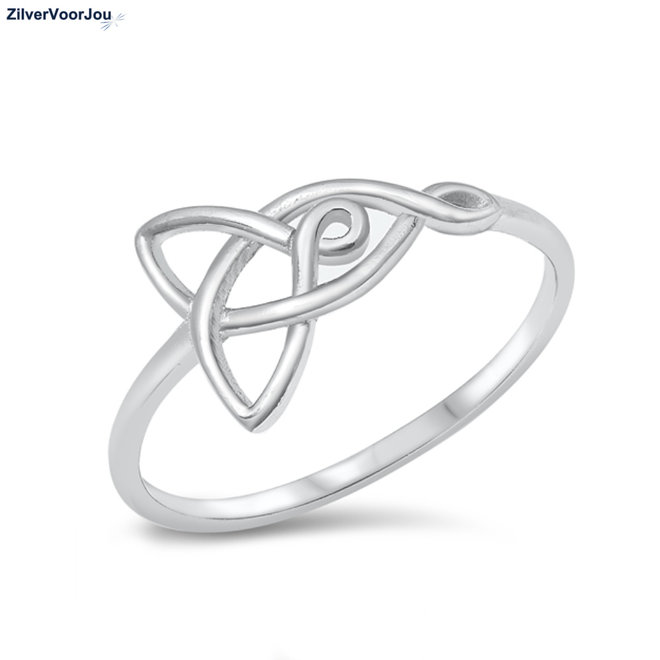 Zilveren keltische love knot ring moeder dochter rhodium