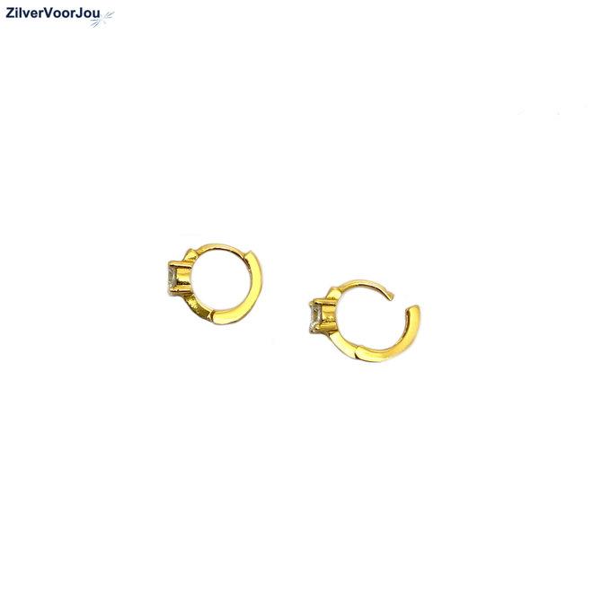 Zilveren huggie star oorringen 14k geel goud verguld