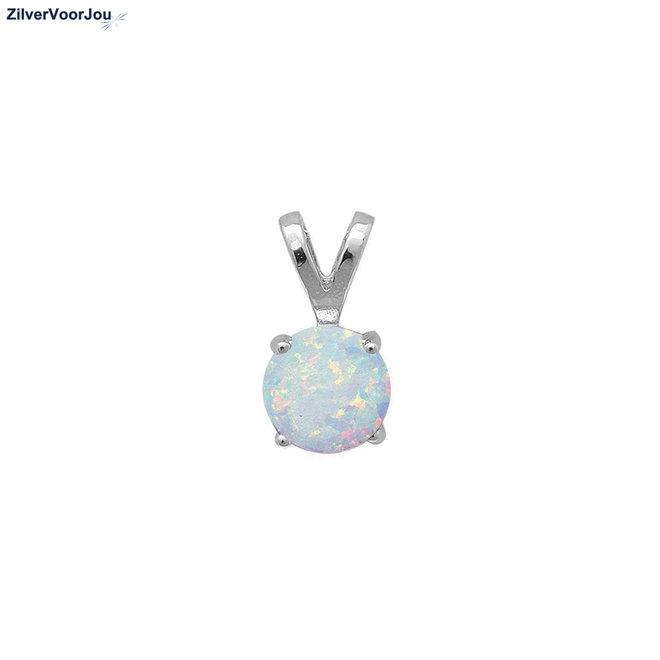 Zilveren ronde witte opaal hanger