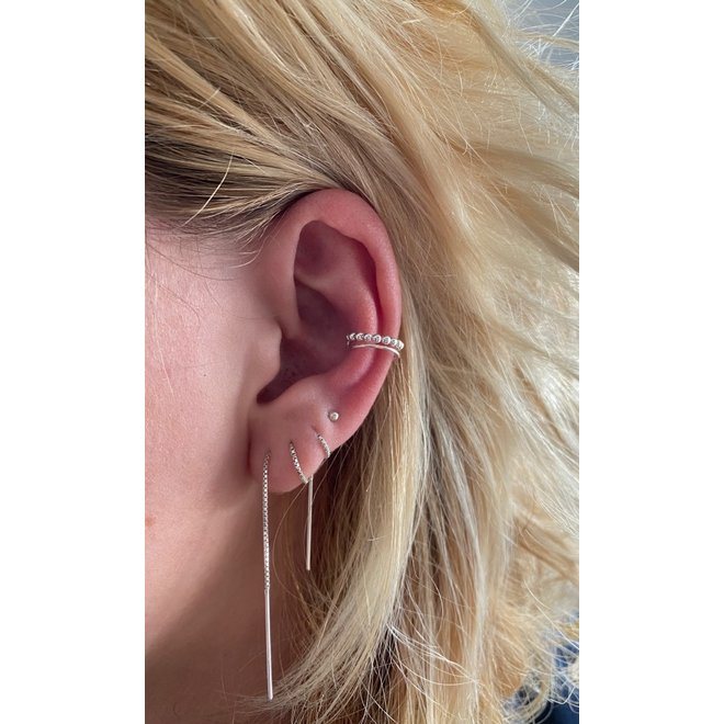Zilveren dubbele lijn balletjes earcuffs