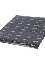 o27  Nummerstickers - zwart met witte tekst - 100 per vel