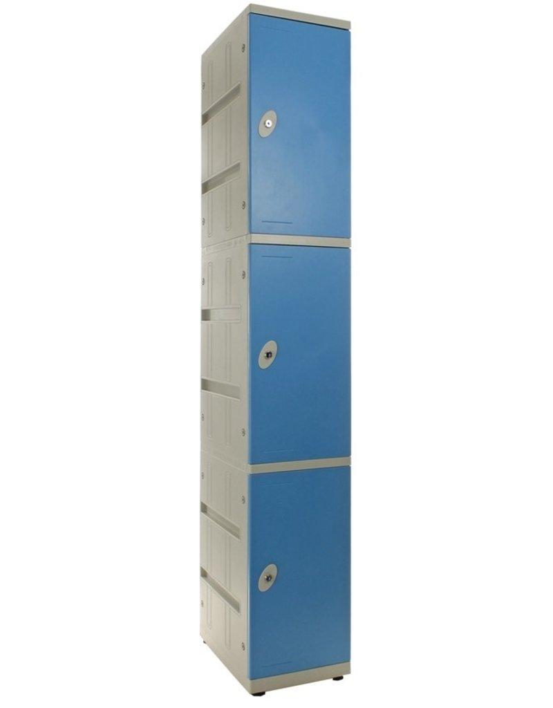 o27 EX RENTAL Kunststof Locker - Driedeurs - Blauw