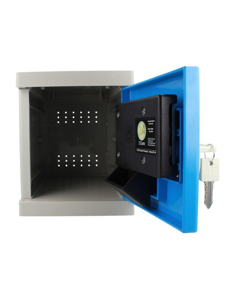 o27 Kunststof Mini Locker met 2 EUR inbouw pandslot - blauwe deur