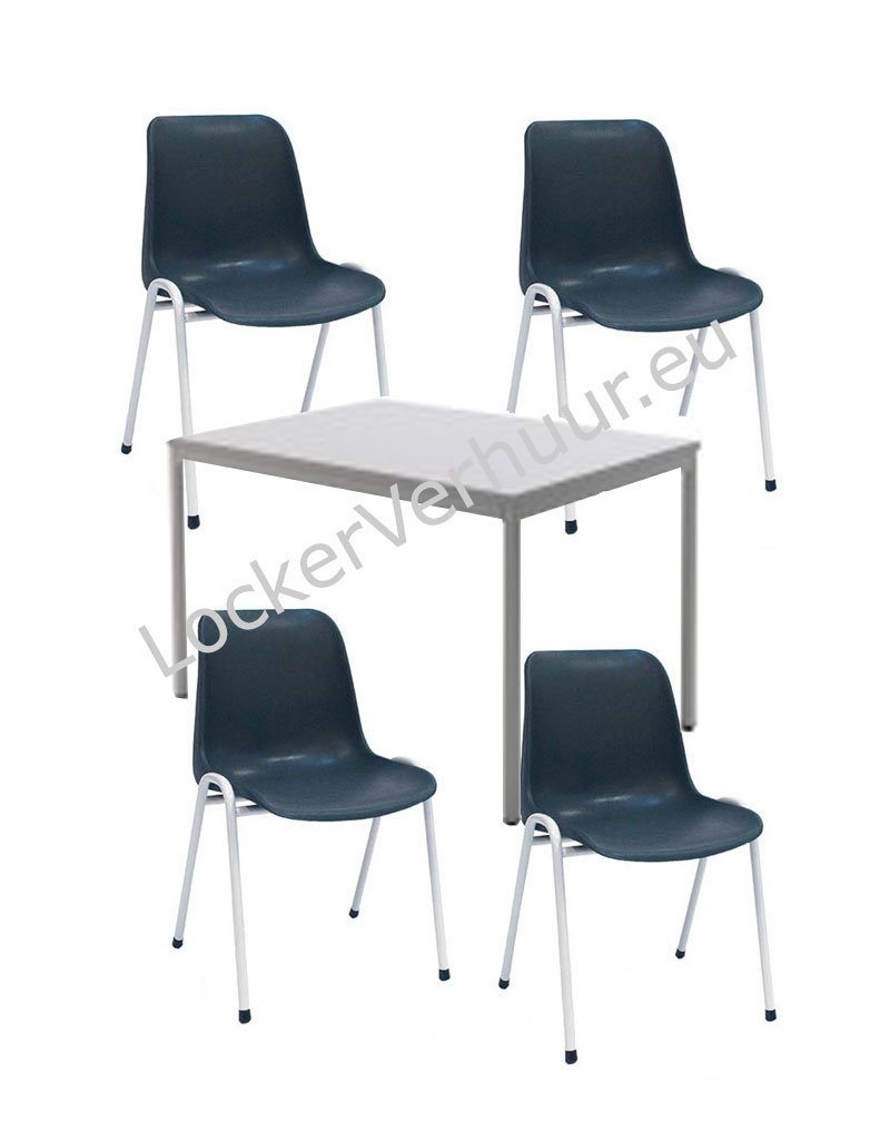 o27 Set van kantine tafel en 4 stoelen