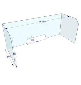 Acrylglas Bureau hoekscherm 150x60