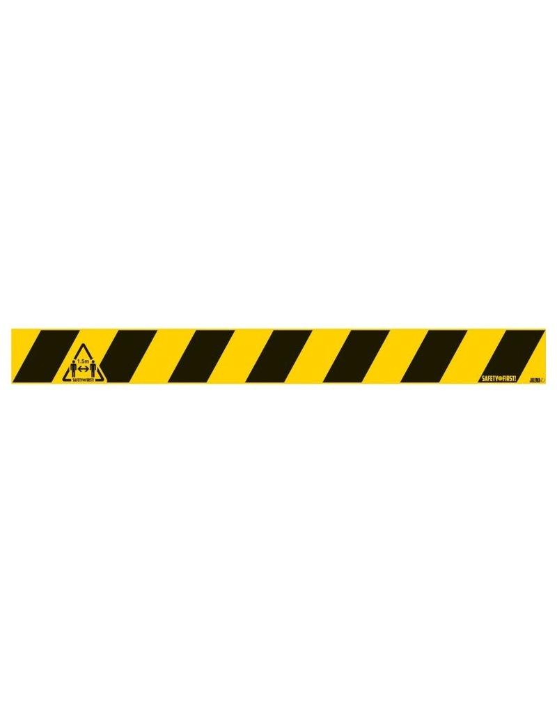 Vloersticker houd afstand 1,5 meter (ruwe vloer): 80 x 8 cm