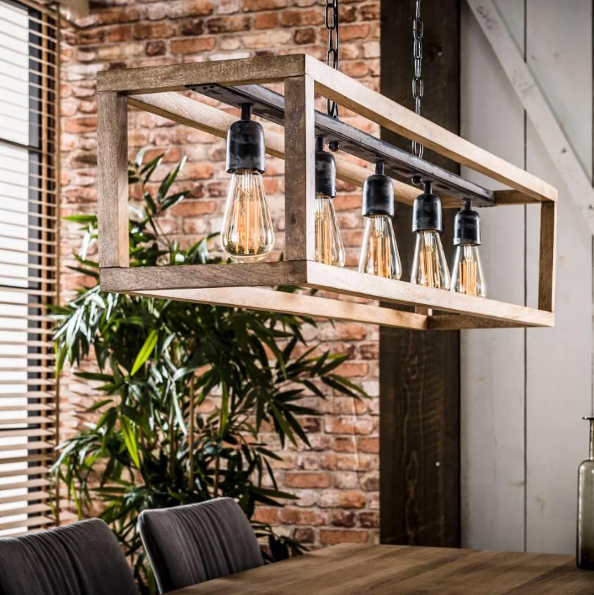 Beroemd Hanglamp 5L Rechthoek houten frame | Gister&vandaag FQ58