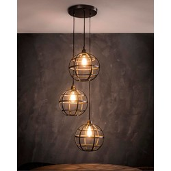 Hanglamp 3L Globe getrapt