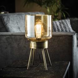 Tafellamp 4-poot amber glas