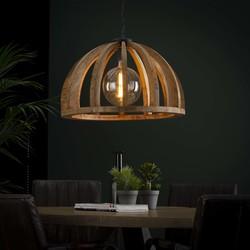 Hanglamp ø60cm gebogen houten spijlen