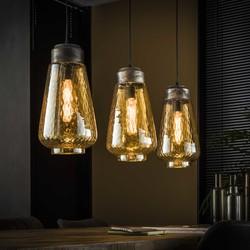 Hanglamp 3L amber druppel glas