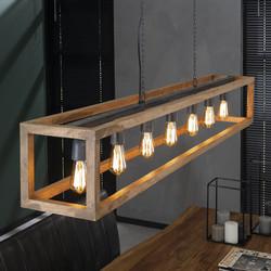 Hanglamp 7L rechthoek houten frame