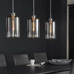 Hanglamp 3L glass metallic grey