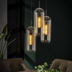 Hanglamp 3xø15 raster met glas getrapt
