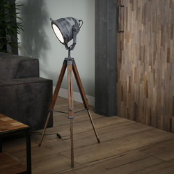Vloerlamp iron houten statief