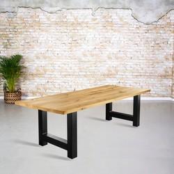 Massief eiken tafel | rechte rand met H-poot