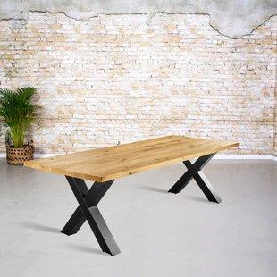 Massief eiken tafel |  rechte rand en X-poot
