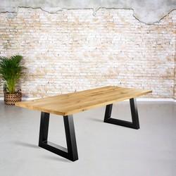 Massief eiken tafel | rechte rand met Trapezium poot