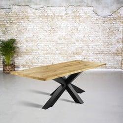 Massief eiken tafel |  rechte rand en 3D tafelpoot
