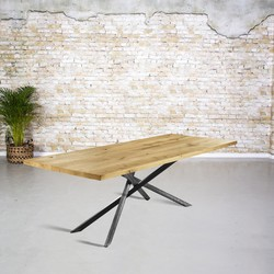 Massief eiken tafel |  rechte rand en mikado poot