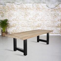 Massief oud eiken tafel |  H-poot