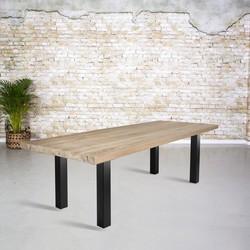 Massief oud eiken tafel |  N-poot