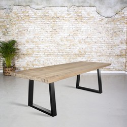 Massief oud eiken tafel |  dunne Trapezium poot