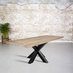 Massief oud eiken tafel | 3D tafelpoot vierkant