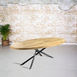 Massief eiken tafel ovaal |  mikado onderstel