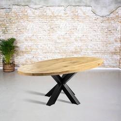 Massief eiken tafel ovaal |  3D tafelpoot vierkant