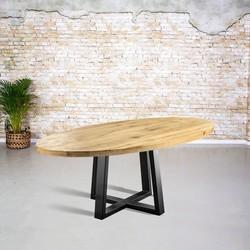Massief eiken tafel ovaal | Trapezium spinpoot