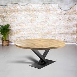 Massief eiken tafel rond| V-poot