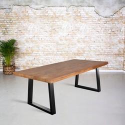 Eettafel mangohout | Dunne trapezium poot