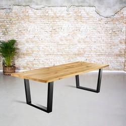 Massief eiken tafel |  rechte rand en V-poot trapezium