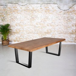 Eetkamertafel mangohout |  V-poot trapezium