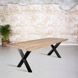 Massief oud eiken tafel |  X-poot gedraaide koker