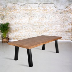 Eettafel mangohout |  A-poot zonder ligger