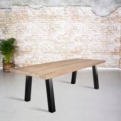Massief oud eiken tafel |  A-poot zonder ligger