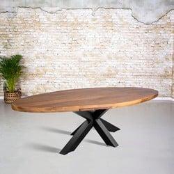 Eettafel mangohout ovaal | 3D tafelpoot