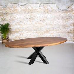 Eetkamertafel mangohout ovaal | 3D tafelpoot vierkant