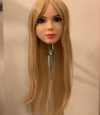 Damespruik 3 lang asblond stijl haar met lange lokken