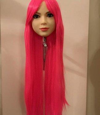 Damespruik 19 extra lang neon roze stijl haar schuine lok