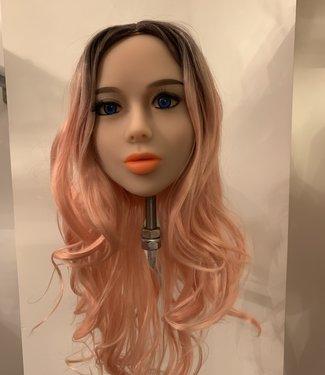 Damespruik 33 2 kleurig bruin met licht roze lang haar met slag