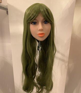 Damespruik 34 extra lang groen stijl haar met een schuine lok