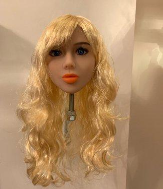Damespruik 30 lang blond haar met slag en pony