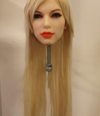 Damespruik 38 lang blond stijl haar en schuine lok