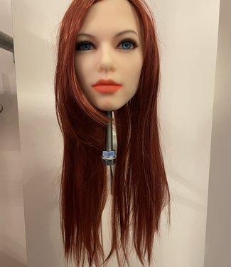DAMESPRUIK 50 Lang stijl rood haar met schuine lok