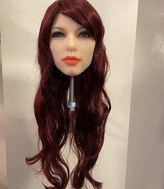DAMESPRUIK 51 Lang koper rood van kleur haar met slag en schuine lok