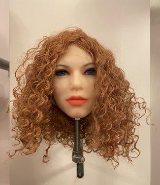 DAMESPRUIK 55 Half lang koper/donker blond krullend haar